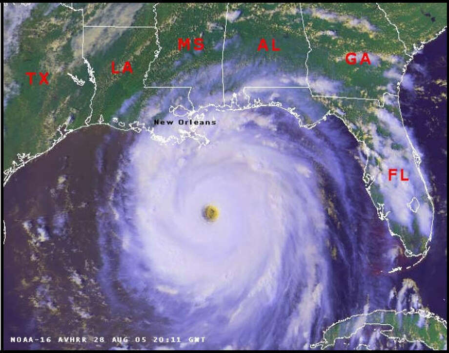 Hurricane Katrina, near full-strength, as it barreled down on Louisiana, Aug. 28, 2005. Katrina was later removed from the rotating list of hurricane names.Click through the gallery to see the worst hurricanes in Texas history: Photo: NOAA
