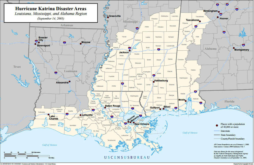 Hurricane katrina affected areas