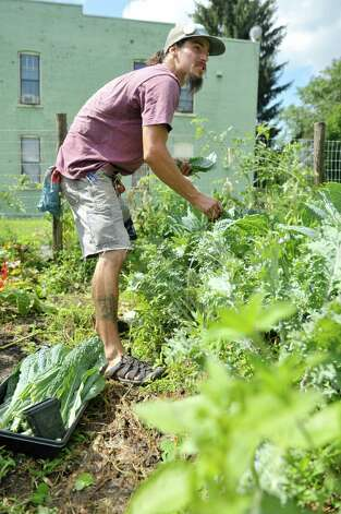 Christian Grigoraskos, a lead gardener at the Sanctuary for Independent Media, works in a garden in one of the lots owned by the Sanctuary for Independent Media, on Thursday, July 23, 2015, in Troy, N.Y.  The sanctuary has several lots that they are using to grow food and flowers.   (Paul Buckowski / Times Union) Photo: PAUL BUCKOWSKI / 00032644A