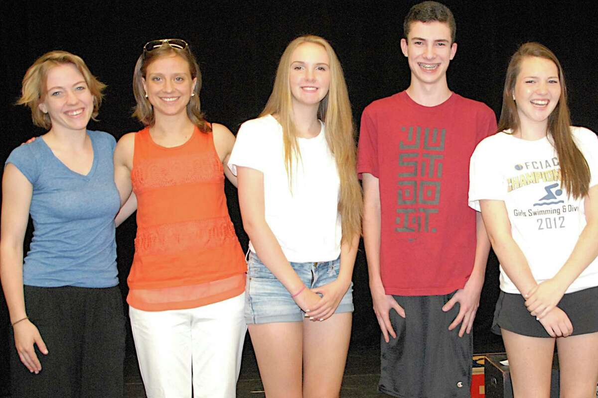 Among the participants in the Summer Theatre of New Canaan's Pre-College Summer Theatre Acting Intensive Program were, from left, Chicago actress Ella Raymont (education coordinator); theater director Allegra Libonati; high school theater intensive students Sarah Russo, Will Dooley and Caroline Castle.