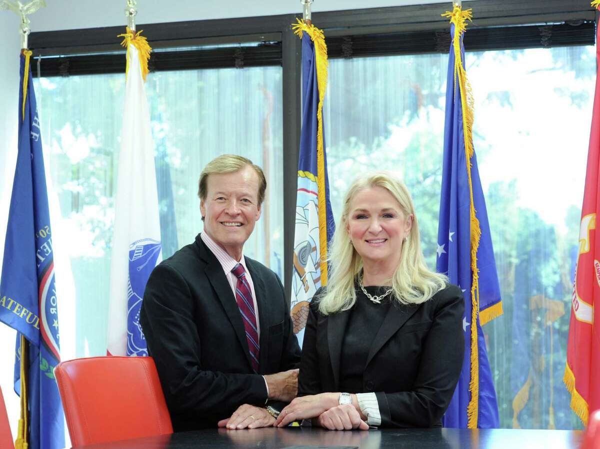 At right, H. Scott Higgins, president & CEO of Veterans Advantage, with his wife, Lin Higgins, the chief operating officer.