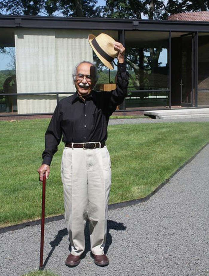 Pedro E. Guerrero during a June 2010 visit to the Philip Johnson Glass House in New Canaan. Photo: Contributed Photo / New Canaan News
