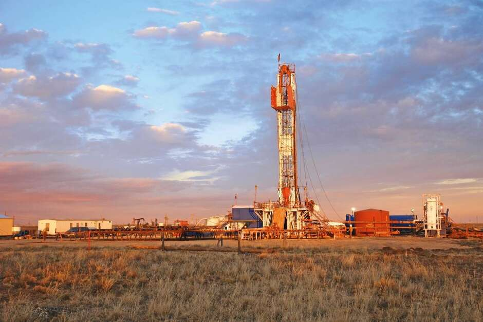 An Occidental Petroleum rig works in the Permian Basin of West Texas.