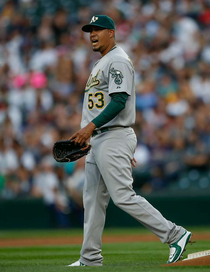 SEATTLE, WA - AUGUST 24:  Starting pitcher Felix Doubront #53 of the Oakland Athletics walks off the mound after taking a batted ball off of his ankle in the first inning  against the Seattle Mariners at Safeco Field on August 24, 2015 in Seattle, Washington.  (Photo by Otto Greule Jr/Getty Images) Photo: Otto Greule Jr, Getty Images