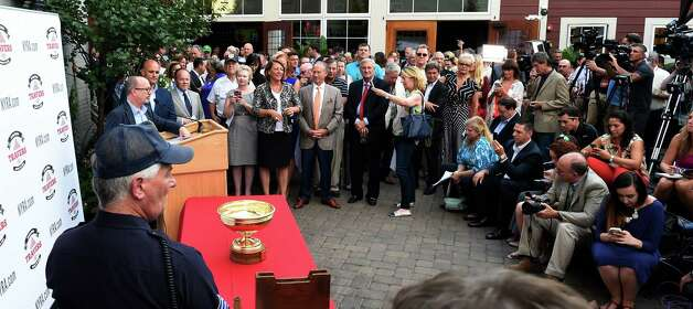 A large crowd was in attendance for post position draw for theTravers Stakes Tuesday evening Aug. 25, 2015 in Saratoga Springs, N.Y.    (Skip Dickstein/Times Union) Photo: Skip Dickstein / 00033122A