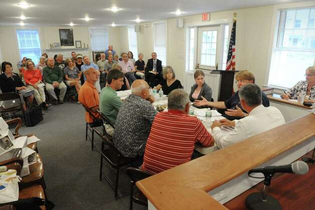 Consultant John Lyons goes over the special-use permit intricacies for rock mining at the Nassau town board will meeting on Tuesday Aug. 25, 2015 in Nassua, N.Y.  (Michael P. Farrell/Times Union) Photo: Michael P. Farrell / 00033125A
