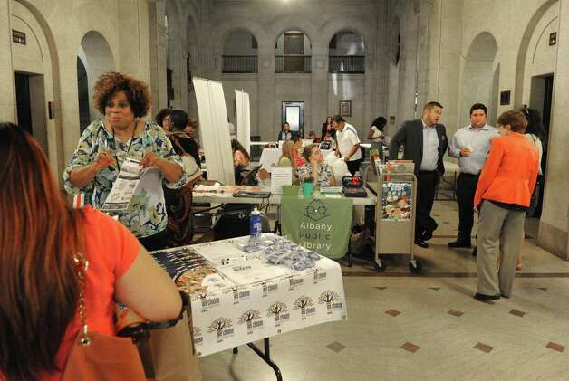 Representatives from organizations with afterschool programs were on hand to answer question about their programs at Albany City Hall on Tuesday Aug. 25, 2015 in Albany, N.Y.  (Michael P. Farrell/Times Union) Photo: Michael P. Farrell / 00033102A