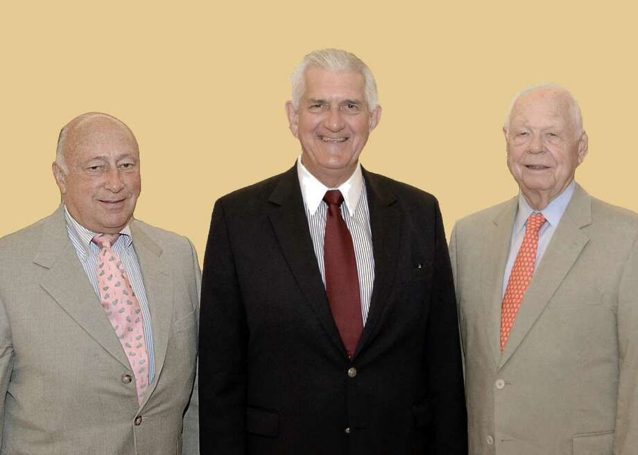 Andrew Sherwood, from left, Les de Villiers and Bill Pike are new officers of the Senior Men's Club of New Canaan. Photo: Contributed / Contributed Photo / New Canaan News