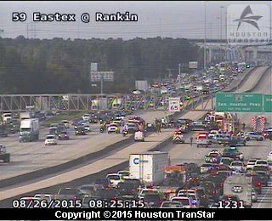 An accident on the Eastex Freeway shutdown U.S. 59 Wednesday morning, Aug. 26, 2015 during rush hour. Photo: Houston Transtar