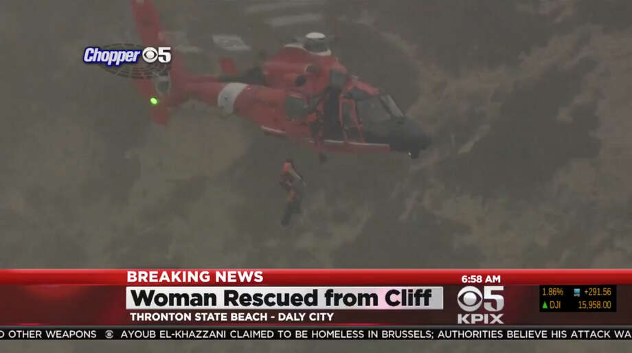 The Coast Guard rescued a woman who was trapped with two dogs after falling 100 feet on a Daly City cliffside early Wednesday morning, August 26, 2015. Photo: CBS San Francisco