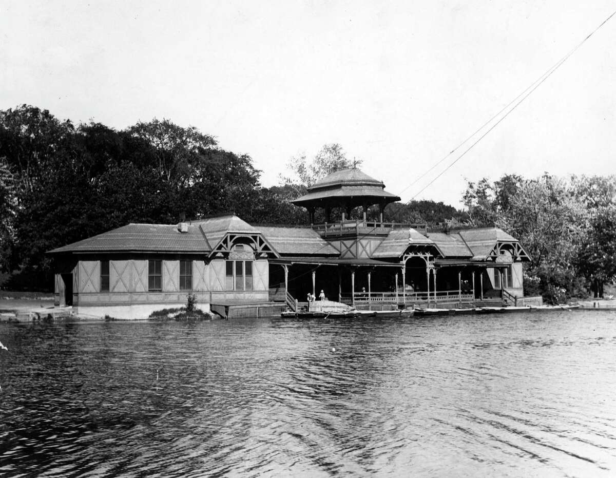 The original boathouse in Washington Park, undated, Albany, N.Y. The boathouse was designed by Frederick W. Brown and completed in 1876. (Times Union archive)