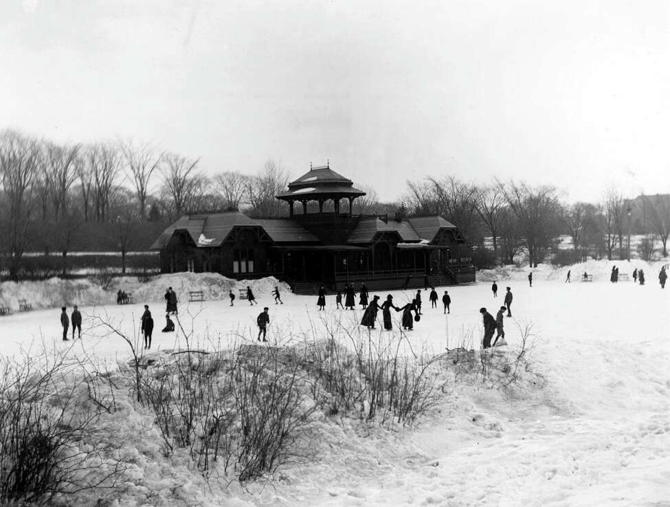 Ice skaters near the original boathouse in Washington Park, circa late 1880s, in Albany, N.Y. The boathouse was designed by Frederick W. Brown and completed in 1876. Skating was introduced in 1874. (Times Union archive)