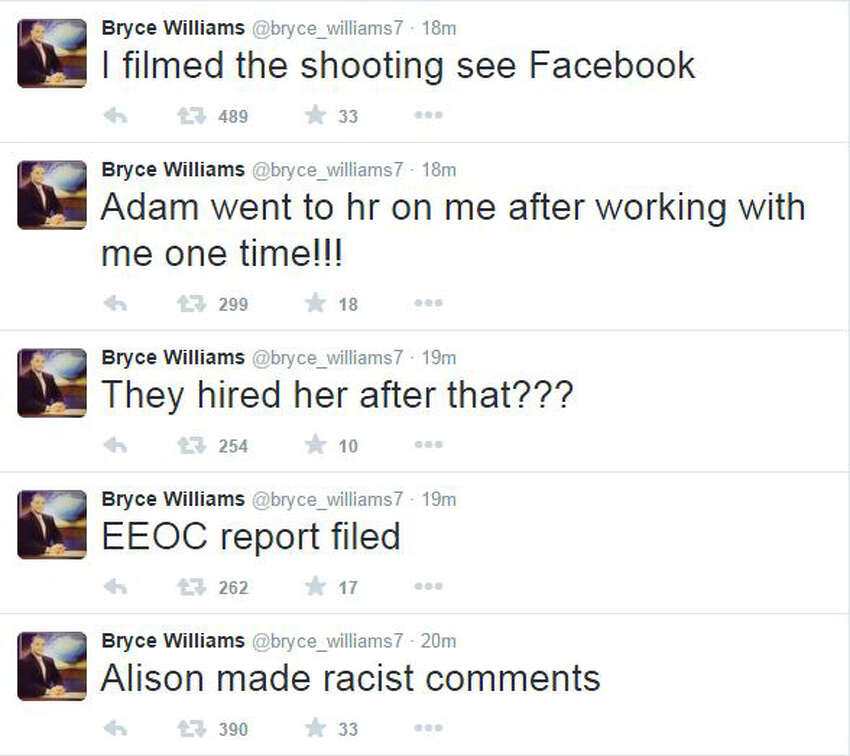 Bryce Williams, the on-camera name of Vester Lee Flanagan II, posted a number of Tweets leading up to a video he posted of the shooting of a Virginia television reporter and cameraman.