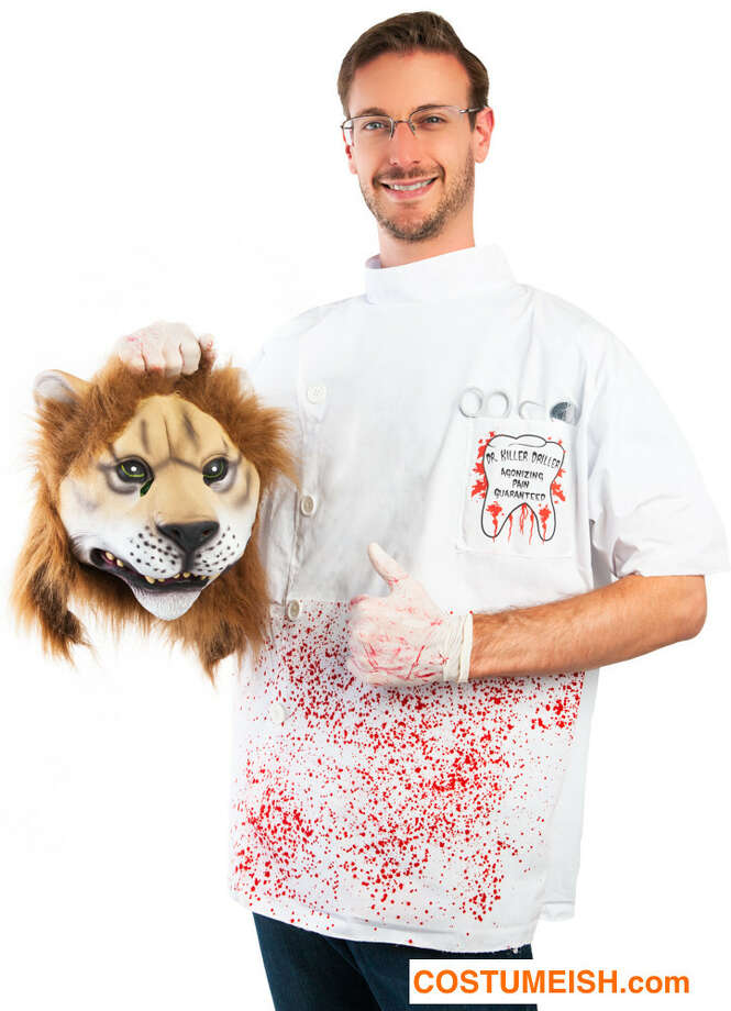 California-based costume company Costumeish.com is selling a Lion Killer Dentist costume for $59.99, making light of the Minnesota dentist Walter Palmer who made national news after killing a beloved lion in Zimbabwe. Photo: Costumeish.com