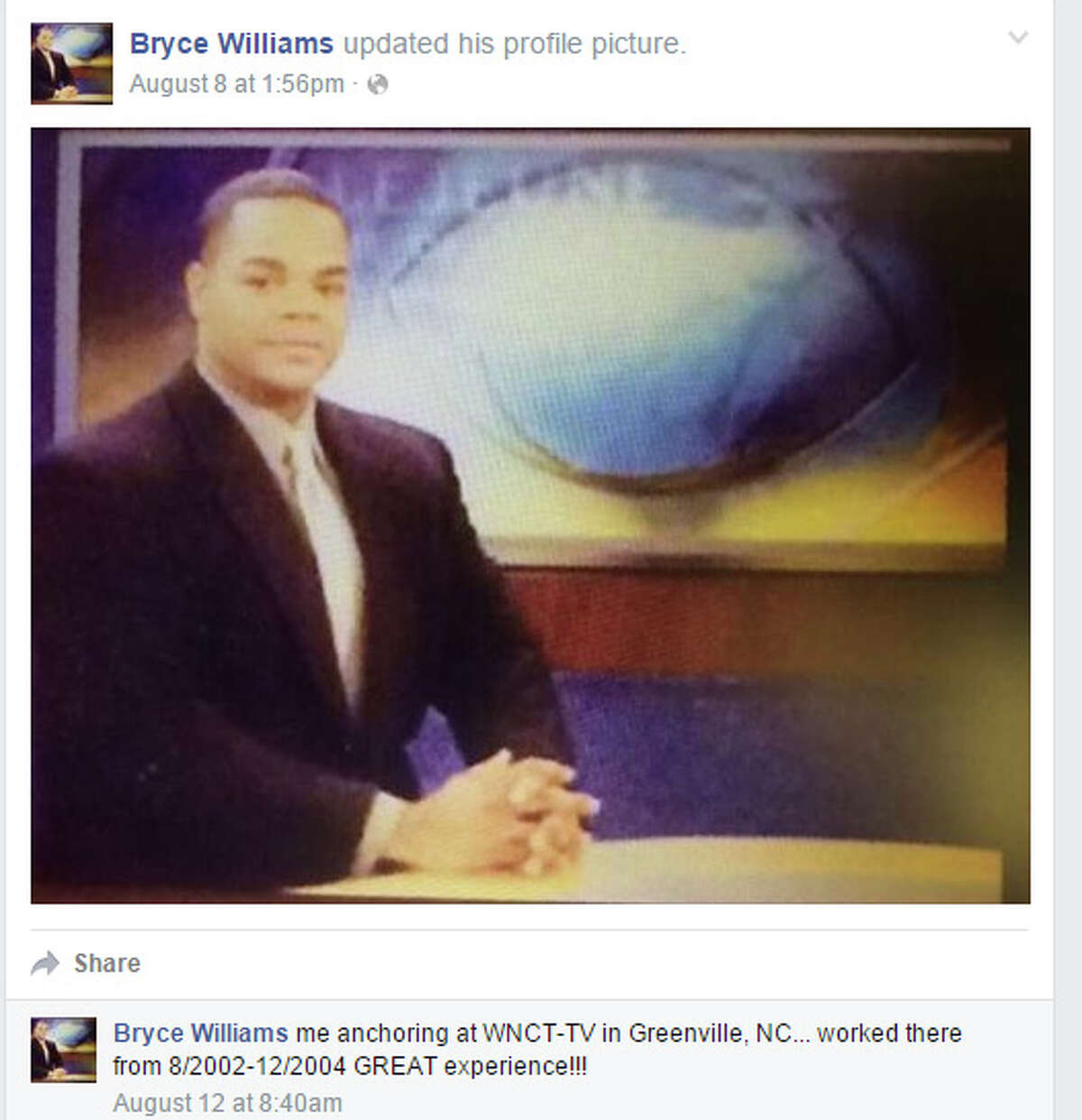 Social media posts from from former TV reporter Bryce Williams. Williams is suspected of shooting and killing two WPLG-TV journalists on Aug. 26, 2015.