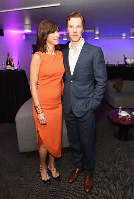 "Benedict Cumberbatch (R) and Sophie Hunter attend an after party following the press night performance of ""Hamlet"" at the Barbican Centre on August 25, 2015 in London, England."