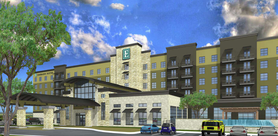 Brooks Development Authority is planning to build the $35 million Embassy Suites -- Brooks City Base by Hilton Hotels at the intersection of South New Braunfels Avenue and S.E. Military Drive. Photo: Courtesy Illustration