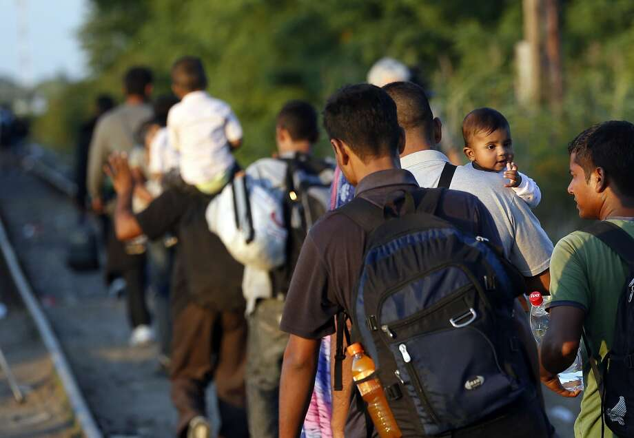 A group of migrants walks along the railway near Horgos, Serbia, toward the Hungarian border. Photo: Darko Vojinovic, Associated Press