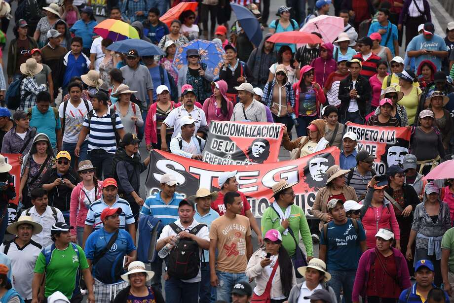 Hundreds of teachers demonstrate on the streets of Guatemala City in the midst of a corruption scandal as the country prepares for Sept. 6 elections. Photo: Johan Ordonez, AFP / Getty Images