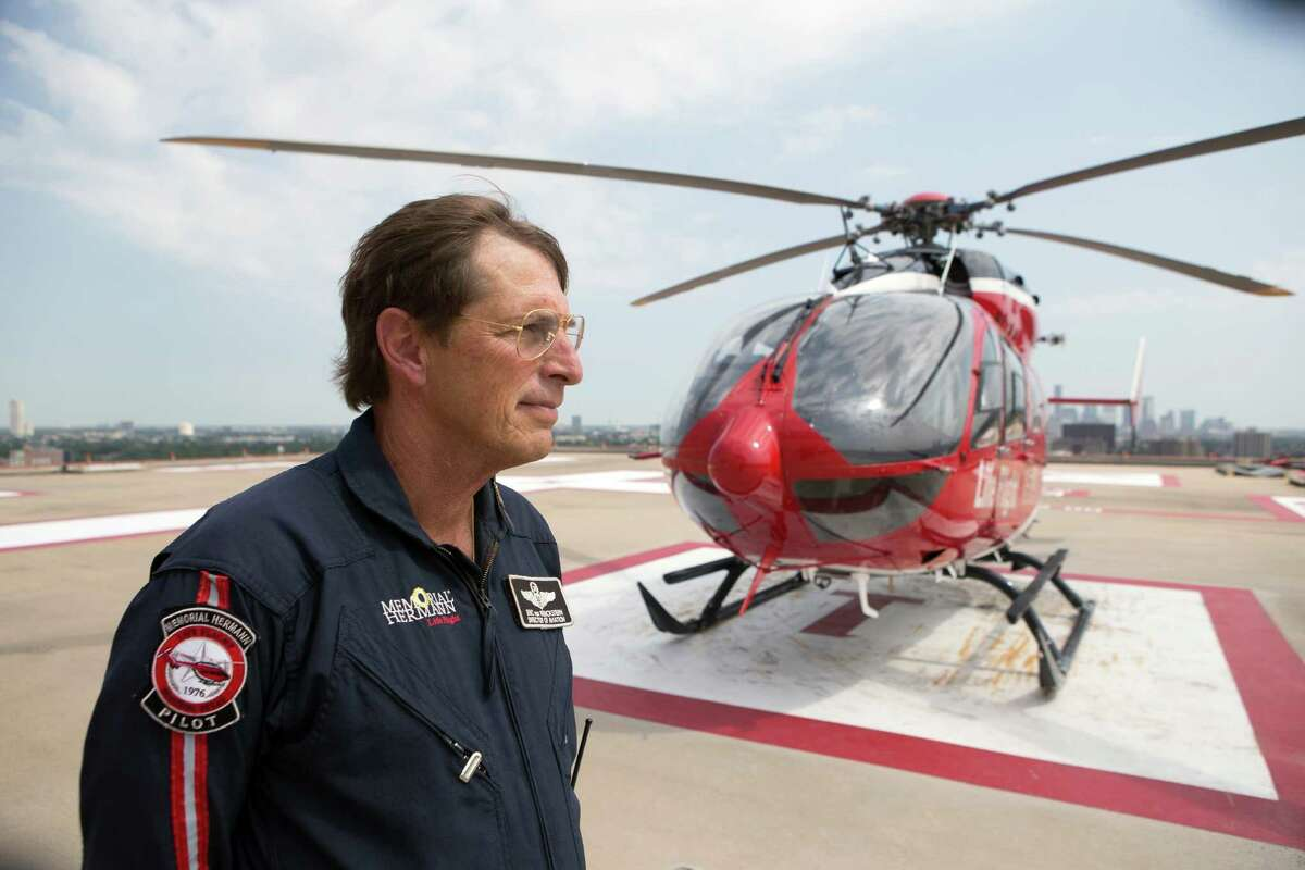 """Eric von Wenckstern, Administrative Director of Memorial Hermann Life Flight, reflects on the passing of Dr. James H. """"Red"""" Duke, Jr. on the helipad at Memorial Hermann-Texas Medical Center, Wednesday, Aug. 26, 2015, in Houston. Having known Dr. Red Duke since 1981, Wenckstern said he had a lot of passion. """"He was like a father to me,"""" he said."""