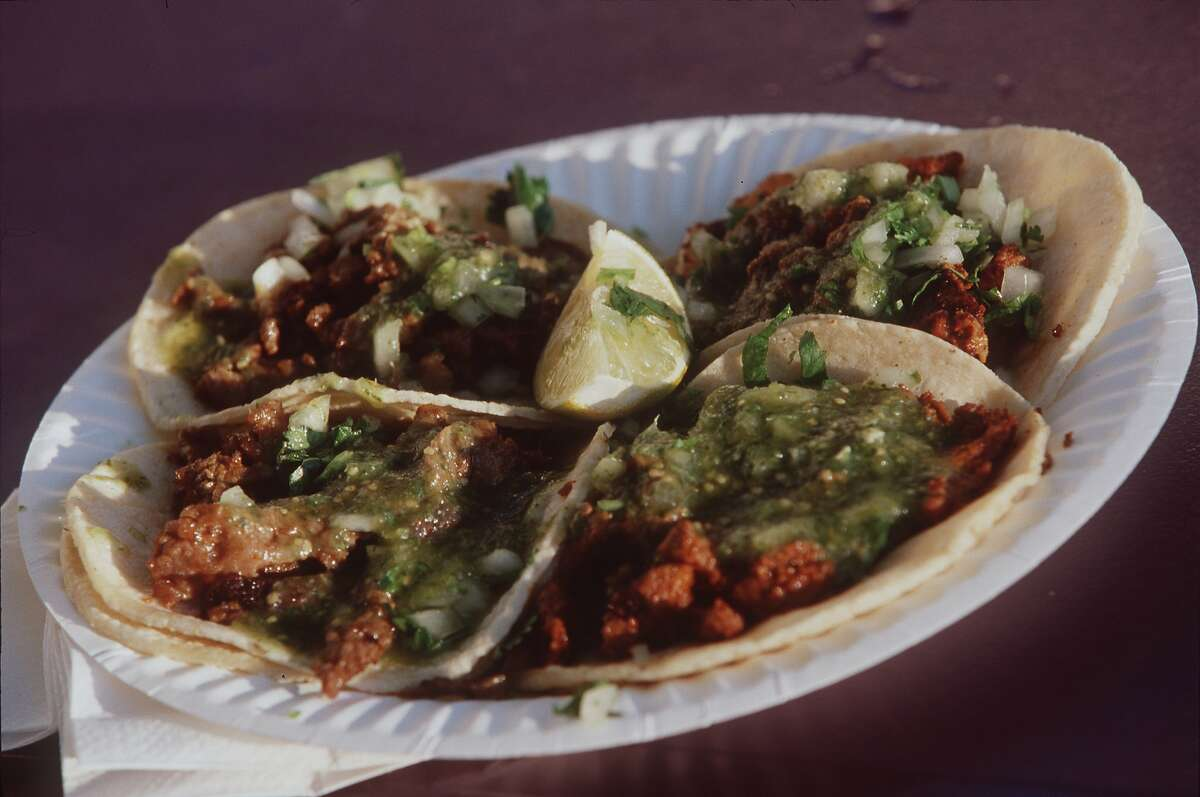 Tacos from the El Tonayense taco truckSome say these simple, fresh tacos that cost only $2.50 each are the most authentic in the city. Three locations in the Mission District include Harrison St. at 14th St., 17th St. and 19th St.