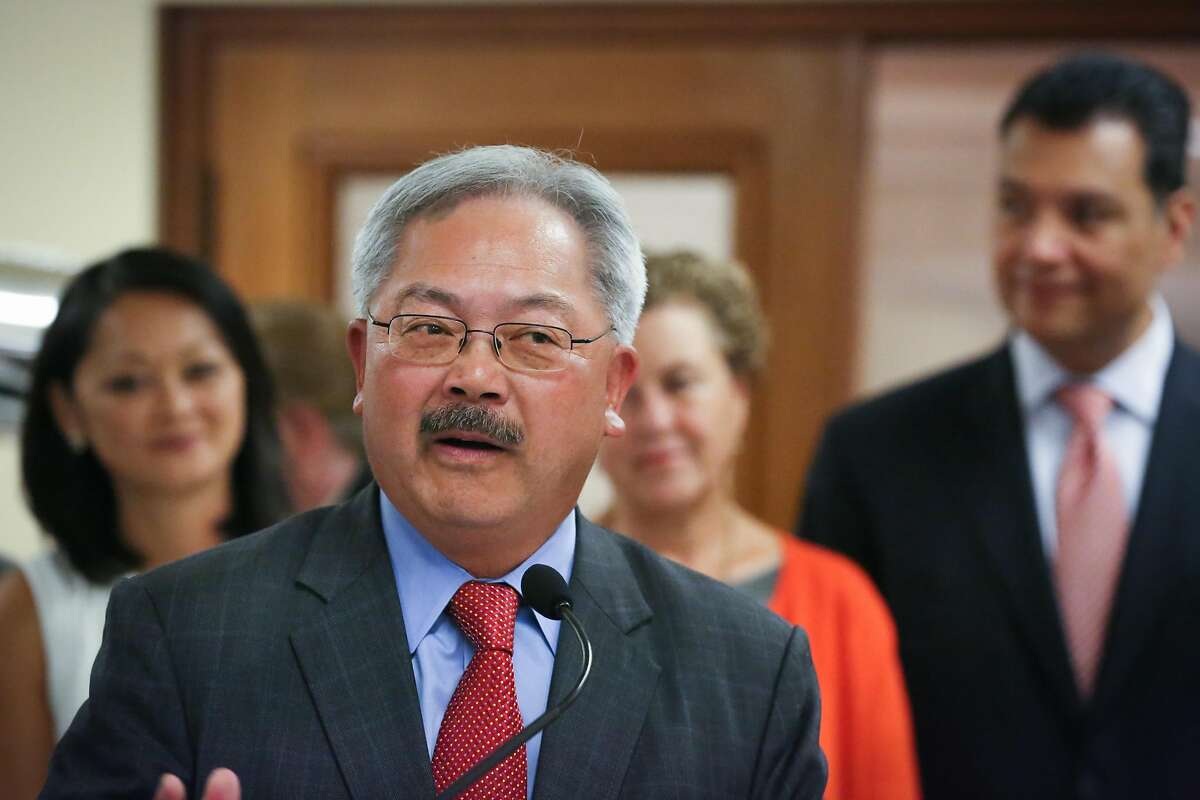 Mayor Ed Lee speaks at San Francisco City Hall in honor of the Voting Rights Act and Women's Equality Day on Wednesday, August 26, 2015.