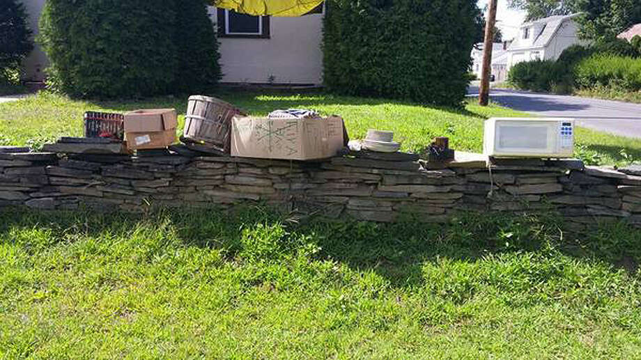 "Items left for free at a Rotterdam home and posted online in a craigslist ad. Renters at the home held a garage sale, listed on craigslist and encouraged folks to take leftover kitchen items for free and left them on stone wall. Instead, people dug up the stone wall and now the renters are asking for the culprits to return the stones that were pilfered ""no questions asked."""