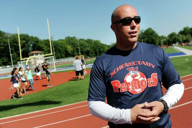 Schenectady's coach Terrence Sloan during a four-team soccer scrimmage and fundraiser for Patriot senior goalie Mahmood Shohatee on Wednesday, Aug. 26, 2015, at Schenectady High in Schenectady, N.Y. Mahmood suffered a cardiac arrest and is currently at Sunnyview Rehabilitation Hospital. (Cindy Schultz / Times Union) Photo: Cindy Schultz / 00033128A