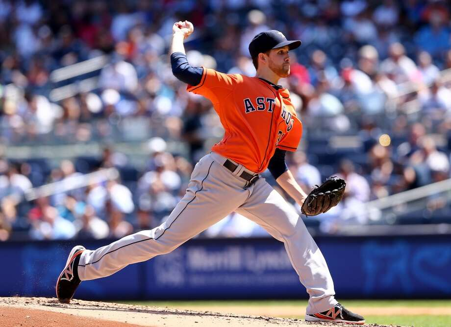 Aug. 26: Astros 6, Yankees 2   NEW YORK, NY - AUGUST 26:  Collin McHugh #31 of the Houston Astros delivers a pitch in the second inning against the New York Yankees on August 26, 2015 at Yankee Stadium in the Bronx borough of New York City.  (Photo by Elsa/Getty Images) Photo: Getty Images