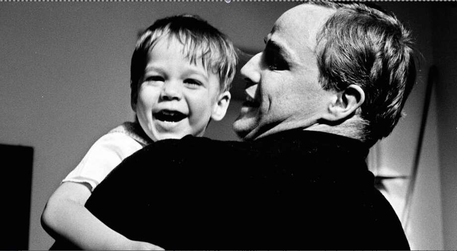 "Marlon Brando with his son Christian in ""Listen to me Marlon."""