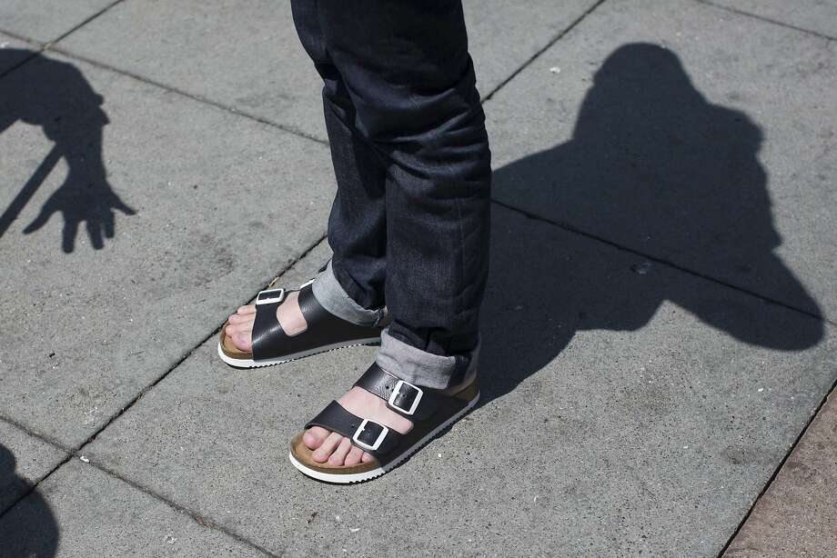 San Francisco Chronicle Style reporter Tony Bravo wears a pair of Birkenstock Arizona sandals in San Francisco, Calif. on Tuesday, Aug. 25, 2015. Photo: Stephen Lam, Special To The Chronicle