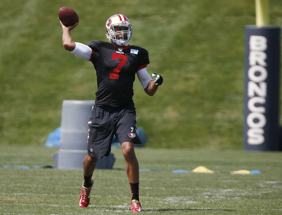 San Francisco 49ers quarterback Colin Kaepernick takes part in drill before facing the Denver Broncos in an NFL football scrimmage at the Broncos' headquarters Wednesday, Aug. 26, 2015, in Englewood, Colo. (AP Photo/David Zalubowski) Photo: David Zalubowski, Associated Press