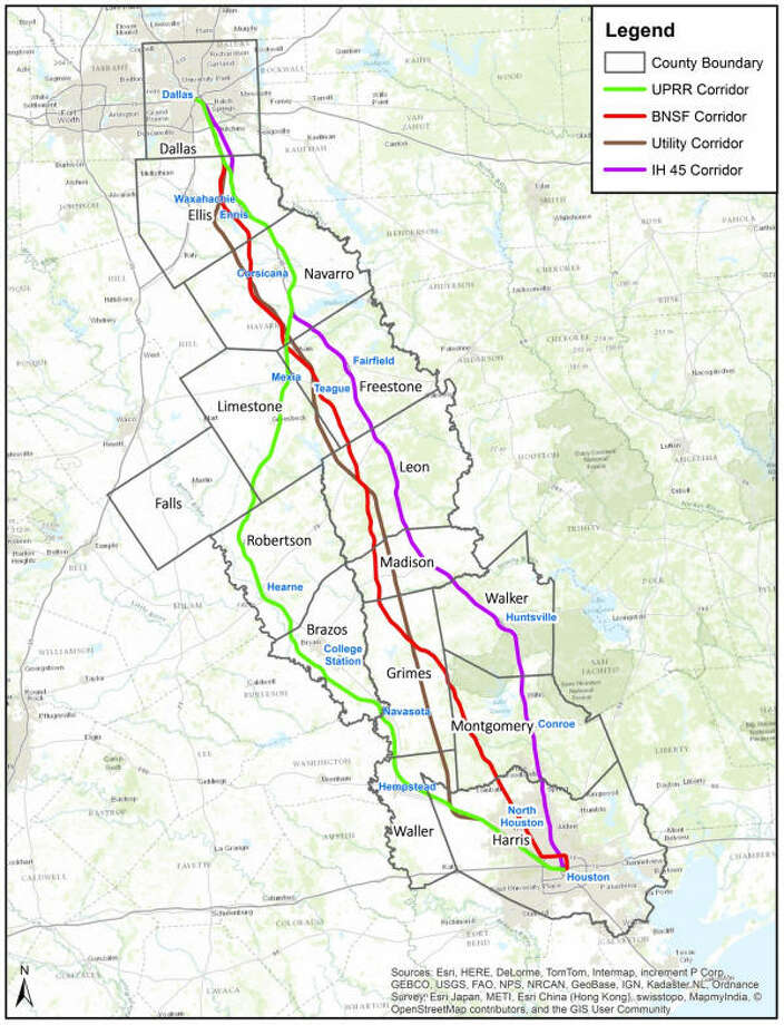 "PHOTOS: Routes for a potential Houston-Dallas bullet trainA federal authority gave approval to developers' preferred corridor for Texas' planned high-speed rail--the ""utility corridor,"" a 240-mile long swath, 70 percent of which follows high-voltage power lines, providing easier access to power and easing problems with right-of-way acquisitions. The corridor is wide; now the company must design a precise route.Take a detailed look at some of the locations the proposed Houston-Dallas bullet train may pass through ..."