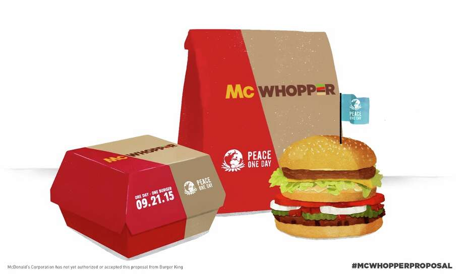 """This photo provided by Burger King shows a """"McWhopper."""" In full-page newspaper ads Wednesday, Aug. 26, 2015, Burger King said it's calling for a truce with McDonald's so that they can create a mashup of their most famous burgers, the Big Mac and the Whopper.   Burger King is tying the publicity stunt to a nonprofit called Peace One Day, which says it promotes Peace Day. (Burger King via AP)  ORG XMIT: NYBZ501 / Burger King"""