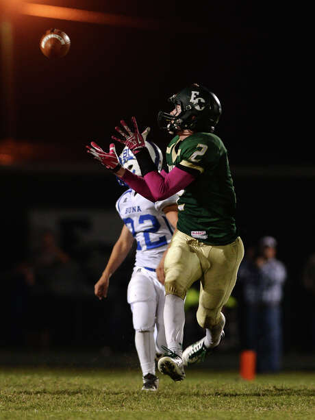 East Chambers' Dylan Silcox, No. 2, turns to receive a pass during Friday night's game against Buna. The East Chambers Buccaneers hosted the Buna Cougars in a District 12-3A DI match up on Friday night. Photo taken Friday 10/24/14 Jake Daniels/@JakeD_in_SETX   Manditory Credit, No Sales, Mags Out, TV OUT, Web: AP Members Only Photo: Jake Daniels / ©2014 The Beaumont Enterprise/Jake Daniels