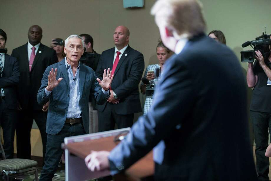 DUBUQUE, IA - AUGUST 25:  Republican presidential candidate Donald Trump fields a question from Univision and Fusion anchor Jorge Ramos during a press conference held before his campaign event at the Grand River Center on August 25, 2015 in Dubuque, Iowa. Earlier in the press conference Trump had Ramos removed from the room when he failed to yield when Trump wanted to take a question from a different reporter. Trump leads most polls in the race for the Republican presidential nomination.  (Photo by Scott Olson/Getty Images) Photo: Scott Olson, Staff / Getty Images / 2015 Getty Images