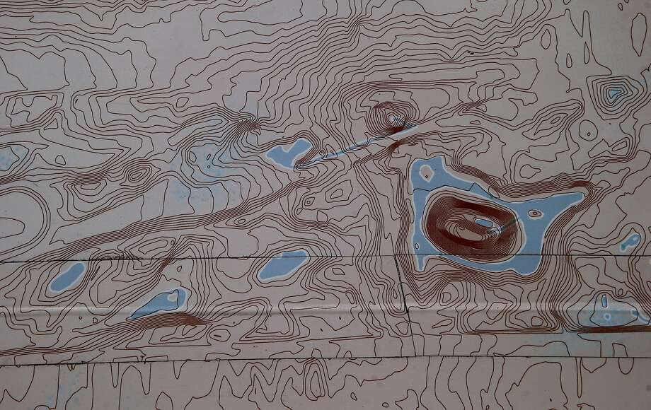 "Water beneath the surface of Golden Gate Park is located in the Seep City map. Joel Pomerantz has created a wall-sized topographical map called ""Seep City"" that shows ground water, marshes and lakes and mountains under the pavement of San Francisco. Photo: Brant Ward, The Chronicle"