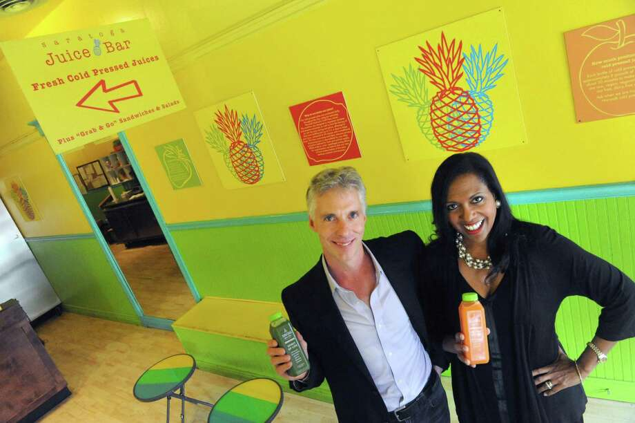 Colin and Christel MacLean owners of Saratoga Juice Bar on Wednesday Aug. 26, 2015 in Saratoga Springs, N.Y. MacLeans are selling one of their other Saratoga establishments, Crown Grill, to focus more effort on their high-end juice business. (Michael P. Farrell/Times Union) Photo: Michael P. Farrell / 00033131A