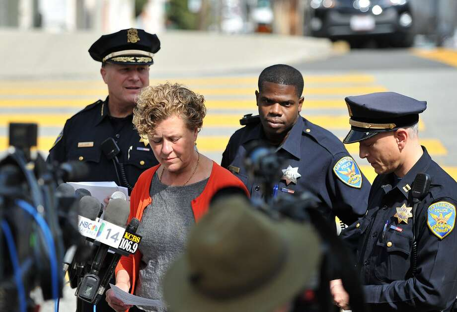 Supervisor Julie Christensen speaks during a press conference to address the shooting of a tourist near Lombard Street the day before in San Francisco on August 26, 2015.  (JOSH EDELSON/SPECIAL TO THE CHRONICLE) Photo: Josh Edelson, JOSH EDELSON / SAN FRANCISCO CHR