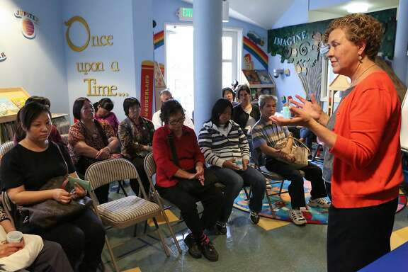 Supervisor Julie Christensen speaks to parents and community members at Kai Ming Head Start on Wednesday, August 26, 2015 in San Francisco, Calif.