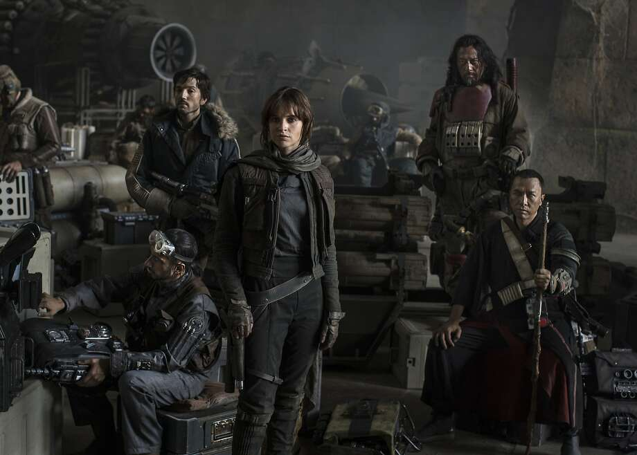 """GOING ROGUE The first """"Star Wars Anthology"""" movie, Gareth Edwards' """"Rogue One,"""" features a truly impressive cast. Among the rebels trying to steal the plans for the Death Star (thus setting up """"Episode IV: A New Hope""""): L to R - Riz Ahmed, Diego Luna, Felicity Jones, Jiang Wen and international superstar Donnie Yen. Scheduled for release Dec. 16, 2016.  Credit: Jonathan Olley / Courtesy of Lucasfilm Photo: Jonathan Olley, Jonathan Olley / Courtesy Of Luc"""