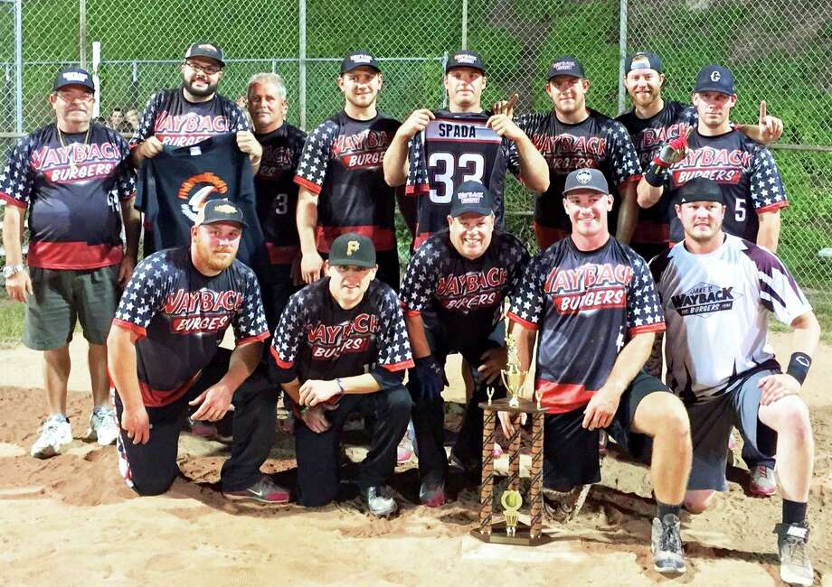 Kings of the hill The Wayback Burgers men's softball team earned its second straight 'A' division during New Milford Parks & Recreation's slowpitch softball playoffs. The burger brigade dedicated the title to fallen teammates Tim Spada and Marcelino Jimenez. Among those lending their diamond skills to the championship run were, from left to right, front row, Chris Buckley, Mark Fracker, Bill Chemero, Chris Doyle and Patrick Hendricks, and, back row, Antonio Lopes, Hobson Lopes, Norman Abair, John Kimberly, Matt Gambone, Justin Kimberly, Tom Gambone and Chris Shaw. Absent were James Kimberly, Keith April, Joe Golden and Josh McSherry. Photo: Contributed Photo / Contributed Photo / The News-Times Contributed
