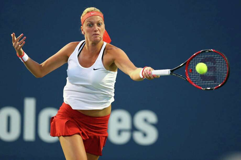 Petra Kvitova returns a forehand to Madison Keys on Wednesday at the Connecticut Open in New Haven. Photo: Maddie Meyer / Getty Images / 2015 Getty Images