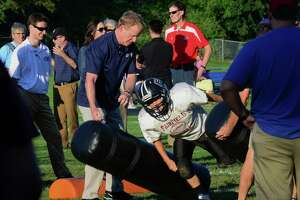 Goodell back in Fairfield, gets involved in Pop Warner practice - Photo
