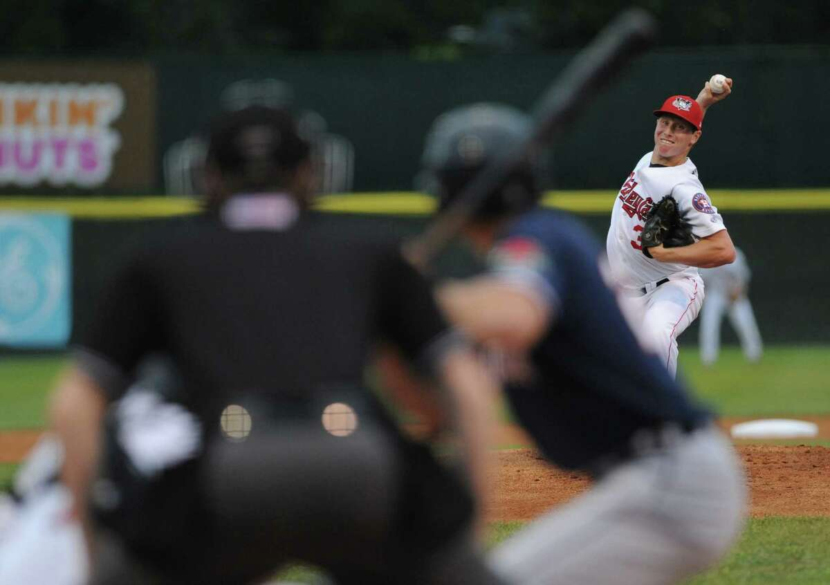 ValleyCat Trent Thornton deals a pitch during their baseball game against the Connecticut Tigers at Joe Bruno Stadium on Wednesday Aug. 26, 2015 in Troy, N.Y. (Michael P. Farrell/Times Union)
