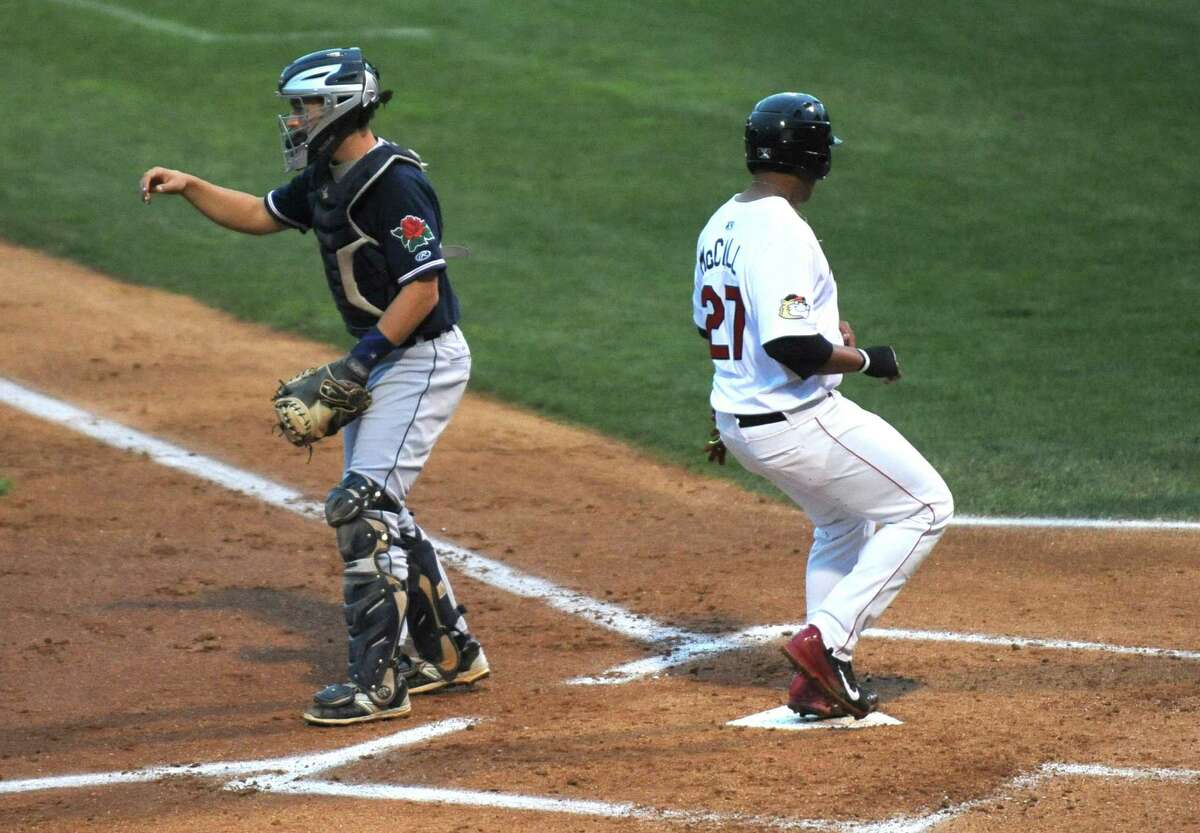 ValleyCat Dexture McCall scores during their baseball game against the Connecticut Tigers at Joe Bruno Stadium on Wednesday Aug. 26, 2015 in Troy, N.Y. (Michael P. Farrell/Times Union)