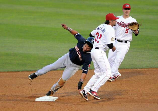 ValleyCat short stop Keach Ballard gets the tag out at second during their baseball game against the Connecticut Tigers at Joe Bruno Stadium on Wednesday Aug. 26, 2015 in Troy, N.Y.  (Michael P. Farrell/Times Union) Photo: Michael P. Farrell / 00033092A