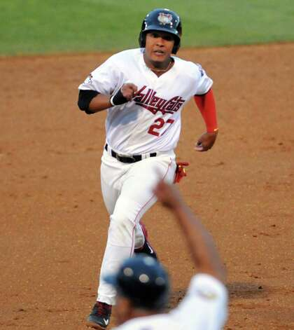ValleyCat Dexture McCall heads for third and then on to score during their baseball game against the Connecticut Tigers at Joe Bruno Stadium on Wednesday Aug. 26, 2015 in Troy, N.Y.  (Michael P. Farrell/Times Union) Photo: Michael P. Farrell / 00033092A