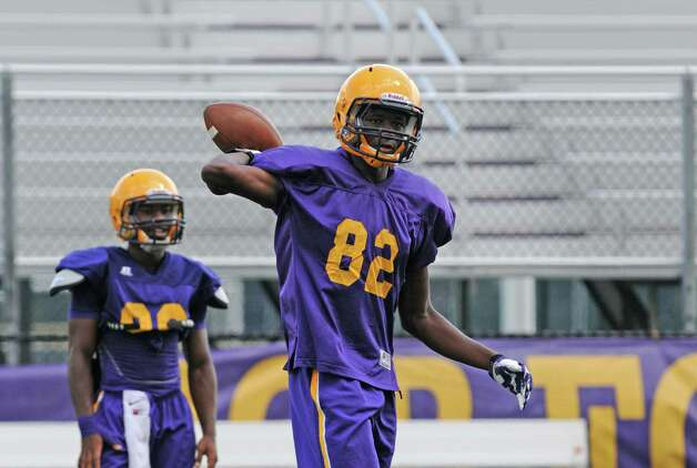 Freshman wide receiver Isaih Clarke, No. 82, during UAlbany football practice on Tuesday Aug. 25, 2015 in Albany, N.Y.  (Michael P. Farrell/Times Union) Photo: Michael P. Farrell / 00033109A