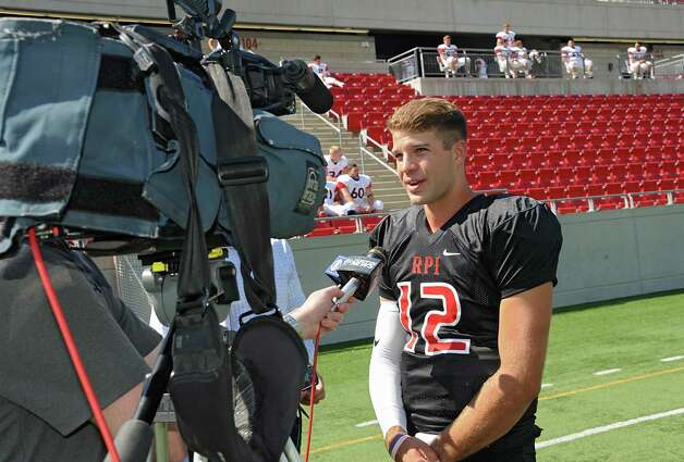 Quarterback Jeff Avery talks to the press about coming back after his season-ending injury last year during RPI football media day at RPI on Wednesday, Aug. 26, 2015 in Troy, N.Y. (Lori Van Buren / Times Union) Photo: Lori Van Buren / 00033022A